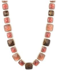 Anne Klein | Metallic Gold-tone Burgundy Faceted Stone Collar Necklace | Lyst