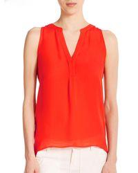 Joie | Red Aruna Silk Sleeveless Blouse | Lyst