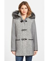 Kensie | Gray Boucle Front Duffle Coat With Faux Fur | Lyst