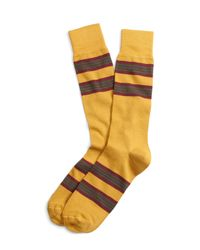 Brooks Brothers | Yellow Triple Stripe Crew Socks for Men | Lyst