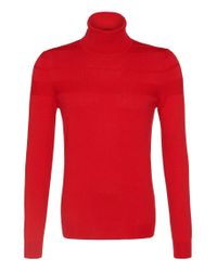 HUGO | Red 'sisanor' | Cotton Silk Cashmere Striped Turtleneck for Men | Lyst
