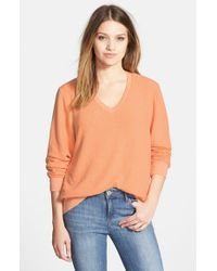 Wildfox | Orange V-Neck Pullover | Lyst