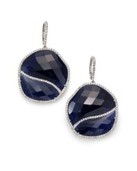 Meira T   Blue Sapphire, Diamond & 14k White Gold Wavy Drop Earrings   Lyst