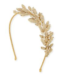 Jennifer Behr | Metallic Arielle Crystal Leaf Headband | Lyst