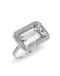 Anne Sisteron - Multicolor 14kt White Gold Diamond Aquamarine Rectangle Ring - Lyst