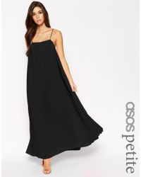 ASOS | Black Maxi Dress With Pleats | Lyst
