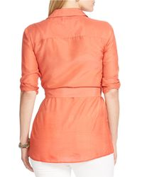 Lauren by Ralph Lauren | Orange Plus Cotton-silk Tunic | Lyst