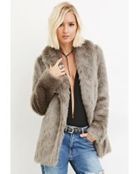Forever 21 | Gray Shawl Collar Faux Fur Coat | Lyst