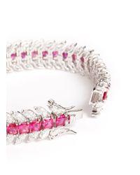 CZ by Kenneth Jay Lane | Pink Cubic Zirconia Crystal Tennis Bracelet | Lyst