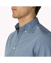 Tommy Hilfiger - Blue Flannel Fitted Shirt for Men - Lyst