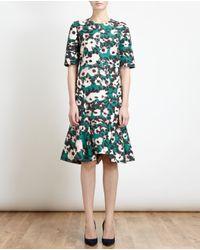 Marni - Green Floral Print Fluted Hem Dress - Lyst