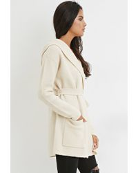 Forever 21 - Natural Belted Open-front Cardigan - Lyst