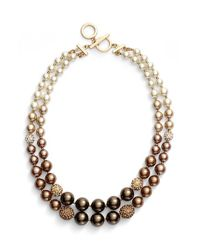Anne Klein | Brown Ombre Faux Pearl Necklace | Lyst
