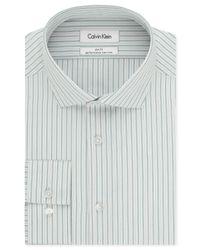Calvin Klein - Gray Steel Non-iron Slim-fit Stream Blue Stripe Performance Dress Shirt for Men - Lyst