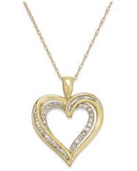 Macy's - Metallic Diamond Twist Heart Pendant Necklace In 10k Gold (1/4 Ct. T.w.) - Lyst