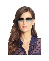 Diane von Furstenberg | Black Farrah Mirrored Aviator Sunglasses | Lyst