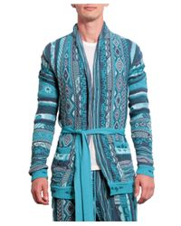 Laneus - Blue Cotton Jacquard Cardigan With Belt for Men - Lyst