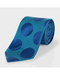 Paul Smith | Blue Jade And Navy Polka Dot Classic Silk Tie for Men | Lyst