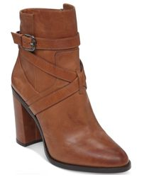 Vince Camuto | Brown Gravell Wrapped Buckle Booties | Lyst