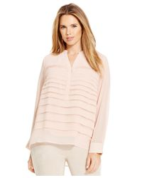 Calvin Klein | Pink Plus Size Pleated Chiffon Blouse | Lyst