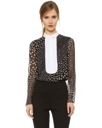 Giambattista Valli | Black Printed Silk-chiffon Shirt | Lyst