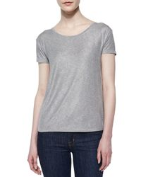Neiman Marcus - Soft Touch Short-sleeve Metallic Tee - Lyst
