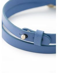 Ferragamo | Blue Wrap-around Leather Gancini Bracelet | Lyst