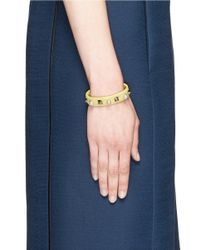 Valentino | Yellow 'rockstud' Faux Pearl Leather Cuff | Lyst