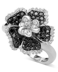 Macy's | Black And White Diamond Flower Ring In Sterling Silver (1/2 Ct. T.W.) | Lyst