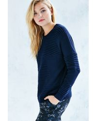 Silence + Noise - Blue Rib Stitch Pullover Sweater - Lyst