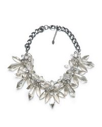 Zara | Metallic Stones and Flower Necklace | Lyst
