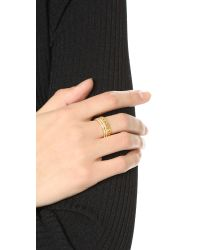 Vita Fede | Metallic Double Band & Chain Ring - Gold/clear | Lyst