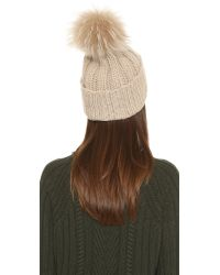 Inverni | Natural Cashmere Ribbed Pom Beanie Hat - Black | Lyst