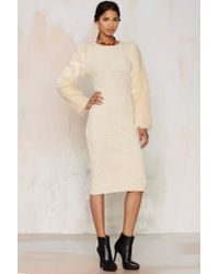 Nasty Gal | Natural Sleeve Me Alone Knit Dress | Lyst