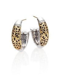Konstantino | Metallic Classic Daphne 18K Yellow Gold & Sterling Silver Filigree Hoop Earrings/0.9 | Lyst