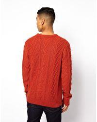 Bellfield - Orange Jumper in Cable Knit for Men - Lyst