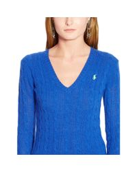 Polo Ralph Lauren - Blue Wool Blend V-neck Sweater - Lyst