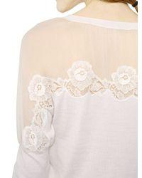 Nina Ricci - White Silk Chiffon and Lace Cashmere Knitwear Sweater - Lyst