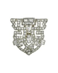 Kenneth Jay Lane | Metallic Silver And Crystal Deco Pin | Lyst