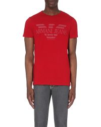 Armani Jeans | Red Eagle Logo-print Cotton-jersey T-shirt for Men | Lyst