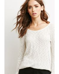 Forever 21 - White Marled Rib Knit Sweater - Lyst