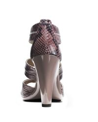 MICHAEL Michael Kors | Purple Berkeley Embossed Leather T-strap Sandals | Lyst