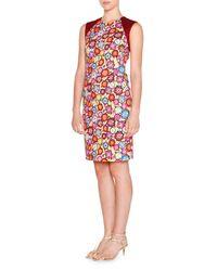 Emilio Pucci - Multicolor Floral-print Cap-sleeve Sheath Dress - Lyst