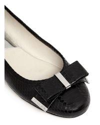 Michael Kors - Black Kiera Bow Snake-embossed Leather Ballerinas - Lyst