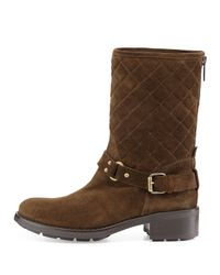 Aquatalia | Green Sage Quilted Suede Moto Boot | Lyst