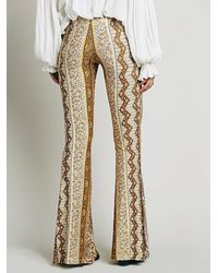 Free People - Yellow Border Print Bell Bottoms - Lyst