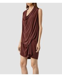 AllSaints - Purple Amei Sleeveless Dress - Lyst