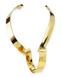 Alexis Bittar | Metallic Large Golden Ribbon Collar Necklace | Lyst