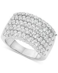 Macy's | Metallic Four-row Diamond Band (2 Ct. T.w.) In 14k White Gold | Lyst