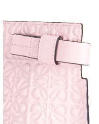 Loewe - Pink Logo-debossed Leather Clutch - Lyst
